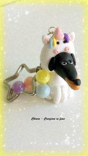 Portachiavi bassotto unicorno in fimo, argilla polimerica, kawaii, miniature, idee regalo compleanno, amante degli animali, personalizzabile