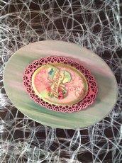 Scatola ovale cartone con plaquette ceramica farfalla