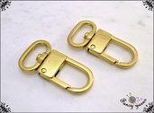 2 Moschettoni color oro mm.45 - spazio interno 19 mm.