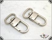 2 Moschettoni color argento mm.45 -  spazio interno 19 mm.