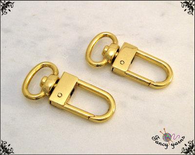 2 Moschettoni color oro mm.33 - spazio interno 13 mm.