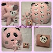 Set Orsetto Panda - cuscino, orsetto e calamita