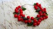 Bracciale ribes rosso perle grappolo foglie argento bigiotteria bijoux
