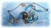 Collana sirena ghiaccio neve cammeo celeste fimo bambolina bijoux idea regalo