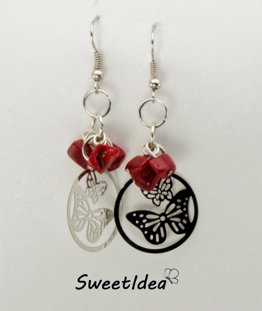 Orecchini pendenti in filigrana e perline rosse