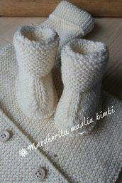 Stivaletti/scarpine bianco panna - neonato/bambino - pura lana merino - fatto a mano
