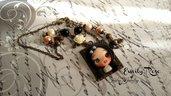 Collana Emily Rose fimo bronzo idea regalo bambolina ragazza bijoux bigiotteria