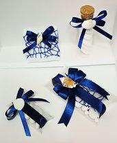 Bomboniere Segnaposto blu tema mare conchiglia confetti scatolina pvc provetta vetro cuscinetto