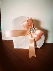 Bomboniere Segnaposto  confetti scatolina cuore nastro rosa e cuore strass
