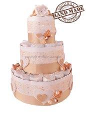 Torta di pannolini color avorio, idea regalo per neonati e bambini