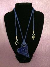 #collana blu #cuoio #ceramica