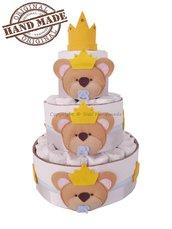 Torta di pannolini con orsetti in pannolenci, idea regalo bambino