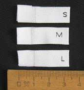10 etichette M tessute con taglia - orizzontale
