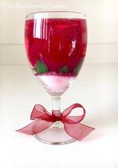 Calice bicchiere con rosa e gel profumato san valentino