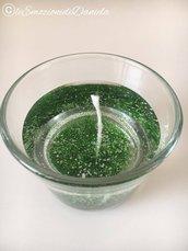 candela gel con glitter verdi