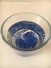 candela gel con glitter blu