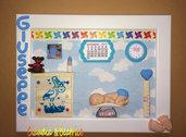 Quadretti nascita da bimbo e da bimba fatti a mano con elementi in fimo, balsa e cartoncino. Idea regalo personalizzabile.