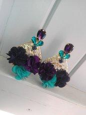 Orecchini blu e viola