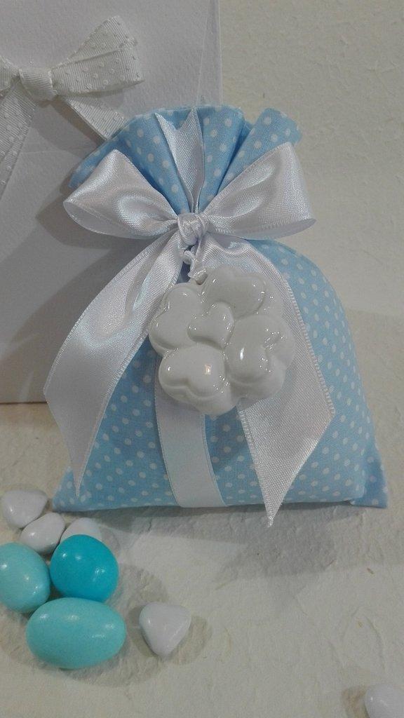 5 sacchetti porta confetti grande POIS/7 azzurro