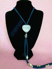 #collana #blu #azzurra #fettuccia #lycra #ceramica #swarovski