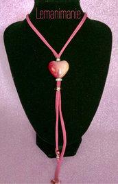 #collana #rosa #fucsia #fettuccia #lycra #ceramica #swarovski