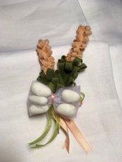 Bomboniera per matrimonio - rametto di fiori salmone
