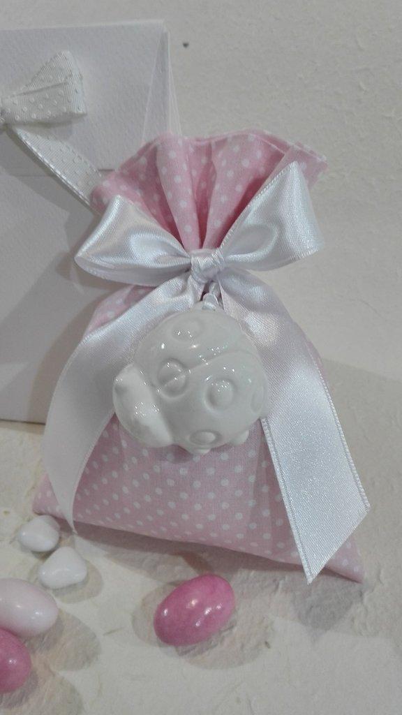 Confezione da 5 sacchetti porta confetti grande color rosa POIS/7 rosa