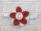 Fascia elastica Fiore Arancio personalizzata con l'iniziale del nome - Bimba Neonata