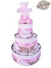 Torta di pannolini con nuvole in pannolenci e orsetto Tilda, rosa, bambina