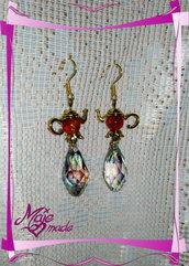 """Orecchini """"Desideri di Cristallo"""" - gocce di cristallo + perline colorate"""