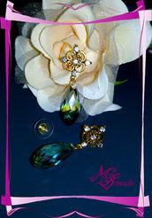 """Orecchini """"Crystal Flower"""" - gocce di cristallo + strass simil Swarovski"""