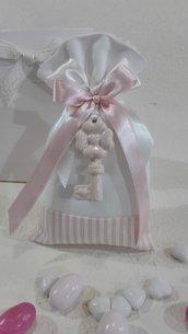 5 sacchettoni piquet righe rosa e bianco tinta unita PIQ/6 rosa