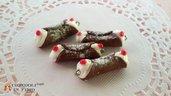 Cannolo siciliano miniatura dolce fimo charms ciondolo materiale creare bigiotteria