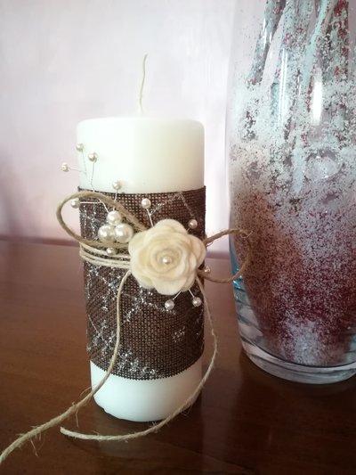 Candela wedding  con rosa in feltro,  wire bijoux,  decorazioni per la casa