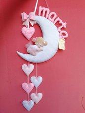Fiocco nascita bimba su luna glitterata Versione Big
