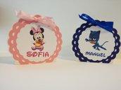 Scatoline porta confetti scatolina PJ masks super pigiamini Minnie personaggi cartoni animati