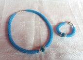 Parure collana e bracciale con rete tubolare - Azzurra