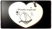 (478) ciondolo cuore bianco incisione nera