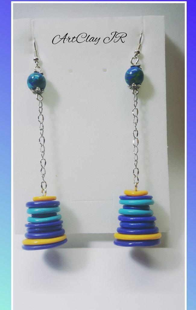 Orecchini pendenti in pasta polimerica (fimo) blu-giallo fatto a mano