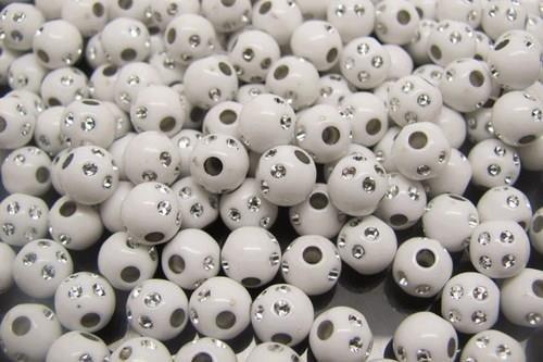 Perline, separatori, divisori bianche con strass 6mm
