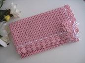 Copertina neonata lana rosa fatta a mano idea regalo corredino nascita battesimo cerimonia uncinetto
