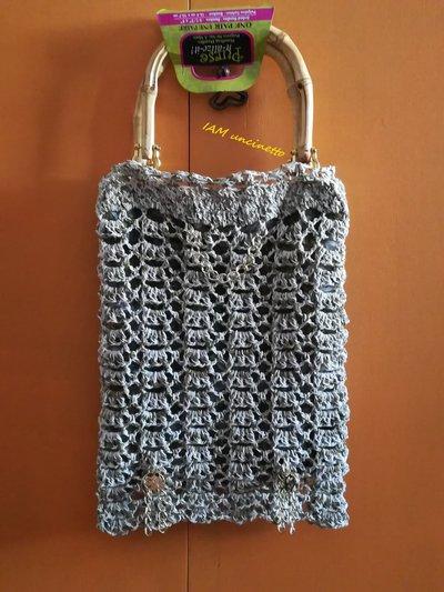 My fine bag - borsa in cotone ingabbiato con manici in bambù