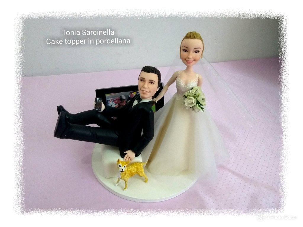 Cake topper personalizzato, sposo con tv motogp