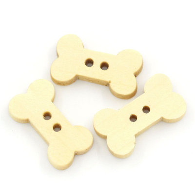 10 Bottoni 2 Fori in Legno a forma di osso ossetto  ossicino 1,5 x 0,3 cm