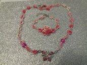 Collana e braccialetto al chiacchierino con farfalla in acciaio e strassine