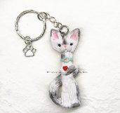 Portachiavi con gatto e cuore, zampa idea regalo fimo kawaii