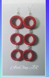 Orecchini pendenti rosso cherry in pasta polimerica (fimo) fatti a mano