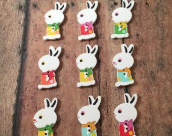 20 Bottoni 2 Fori in Legno a forma di Coniglietto coniglio 32 x 16 mm