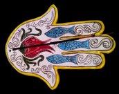 Mano di Fatima di ceramica per brucia incenso o per depositare  piccoli oggetti decoro a colori vivaci