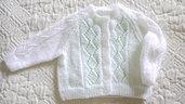 Cardigan  in lana baby bianco  lavorato a mano bambina 3/6mesi
